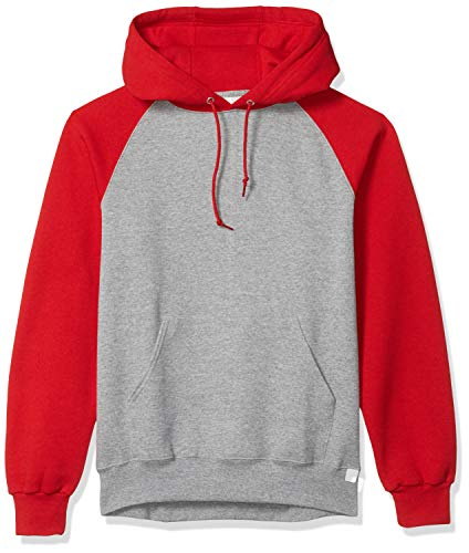 Russell Athletic Men's Dri-Power Pullover Fleece Hoodie, Oxford/True Red, Large