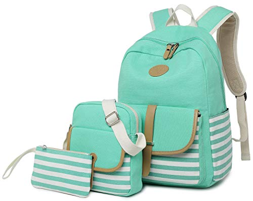 FLYMEI Girls Backpack, Canvas Backpack for School Mint Green Backpack Lightweight Bookbags 3 in 1 Travel Daypack 14Inch Laptop Back Pack