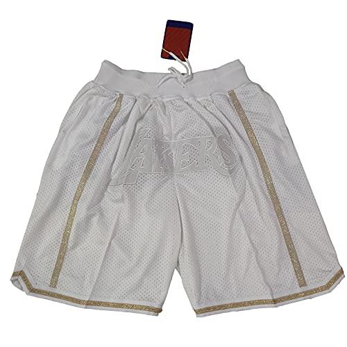 GFIK NBA Basketball Shorts Lakers Net Pocket Embroided Shorts Vintage Basketball Shorts M A