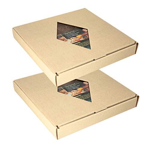 raumbox BBQ Salzsteine aus Himalayasalz   2er Pack   je 20 x 20 x 2,5 cm   mehrfach verwendbar   im Geschenkkarton