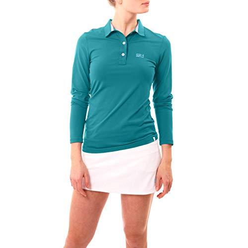 Sportkind Mädchen & Damen Tennis, Golf, Segeln, Funktions Poloshirt Langarm, UV-Schutz UPF 50+, atmungsaktiv, Petrol grün, Gr. S
