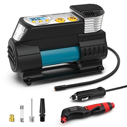 morpilot Auto Luftpumpe, 12V Luftkompressor Tragbarer Auto Kompressor mit LCD Display und LED Taschenlampe für Auto, Fahrrad, Motorrad, Ball