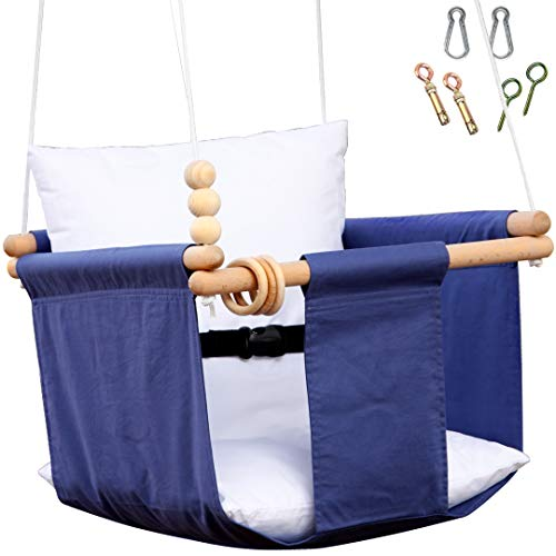 Baby Swing Seat Set Indoor - Outdoor Include Mounting Hardwares, Safety Belt, Wooden Toys, Two Cushion- Blue Hanging Chair for Little Infant - Baby Room Nursery Decor Toddler Cloth Porch Swing Stand