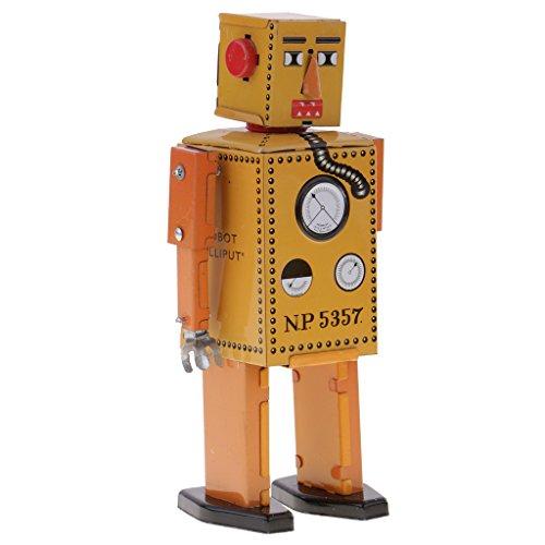 MagiDeal Retro Wind Up Modelo de Mecánica Lilliput Robot Juguete Regalo de Colección - Azul 16cm