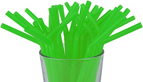 """Made in USA Pack of 250 Green Flexible (8.25"""" X 0.23"""") Unwrapped Plastic Drinking Straws (FDA-approved, Non-toxic, BPA-free)"""