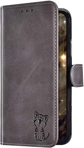 Uposao Kompatibel mit Sony Xperia 10 Plus Hülle Wallet Handyhülle Leder Hülle Flip Schutzhülle Cool Katze Muster Leder Tasche Brieftasche Klapphülle Bookstyle Case Magnet Kartenfach,Grau