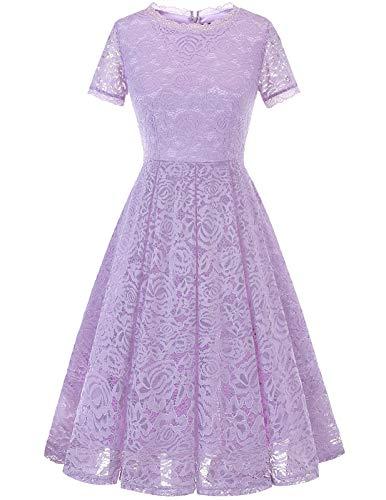 DRESSTELLS Damen elegant Spitzen Brautkleider hochzeitskleider Geburtstagskleid Swing Retro Partykleid Lavender L