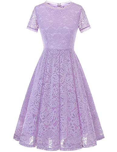 DRESSTELLS Women's Bridesmaid Elegant Tea Dress Floral Lace Cocktail Formal Swing Dress Lavender 3XL