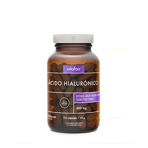 Ácido Hialurónico - 400mg por Porción - 120 Cápsulas - Tamaño Molecular 500-700 kDa - Anti-Edad - Máxima Biodisponibilidad - Vegano - Sin Sales de Magnesio - German Quality
