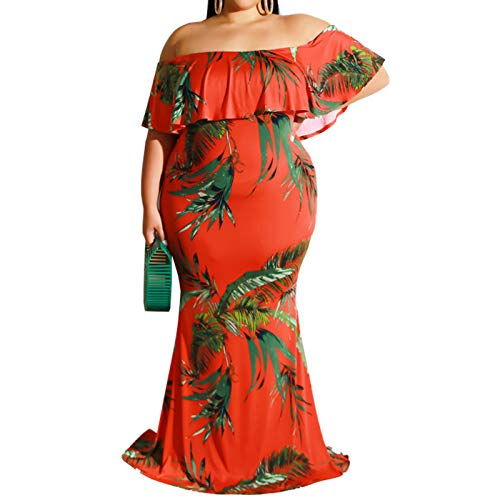 IyMoo Women's Off Shoulder Ruffle Floral Print Plus Size Bodycon Party Dress Leaf Red 4XL (Apparel)