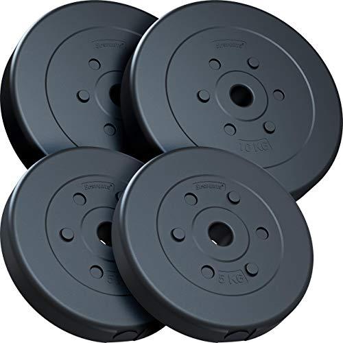 ScSPORTS® 30 kg Hantelscheiben-Set, Kunststoff, 2 x 5 kg, 2 x 10 kg, Gewichte, 30/31 mm Bohrung, durch Intertek geprüft + bestanden(1)