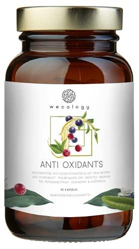 NEU: WECOLOGY® Antioxidantien Kapseln Hochdosiert Vegan - 90 Stück für einen Monat – Olivenblatt-Extrakt, Traubenkern OPC, Grüntee, weißer Tee, Rotwein Extrakt, Cranberry & Knöterich