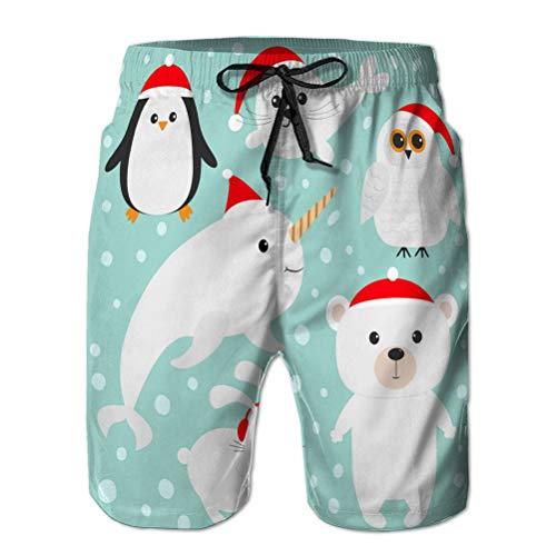 jiilwkie Herren Strandshorts Sommer Quick Dry Swimming Pants arktisches Polartier in roter Weihnachtsmütze weiß XL