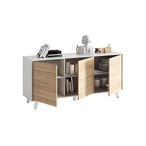 Zaiki – Aparador/cómoda contemporáneo, color blanco y roble estilo escandinavo