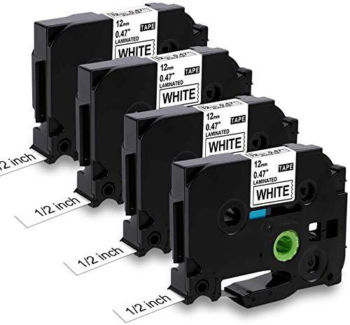 MarkField Kompatible Laminiert Schriftband als Ersatz für Brother P-Touch TZ TZe-231 Etikettenband für PT-H105 H108 H101C H100LB/R 1000 1010 D200 D400, Schwarz auf Weiß, 12mm x 8m, 4 Pack