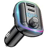 Transmisor FM Bluetooth 5.0 Coche, Adaptador de Radio Bluetooth, Cargador de Coche con PD 18W & USB5V/3.1A, Manos Libres Coche, 10 RGB de Luz, Deep Bass Sonido Hi-Fi, Soporte Tarjeta SD y U Disk