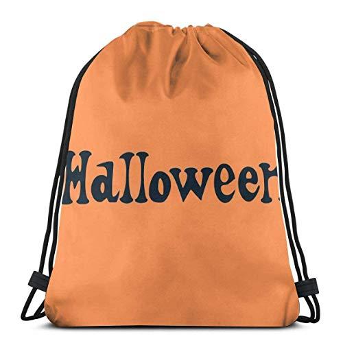 Happy Halloween - Cordón para mochila, bolsa de gimnasio, bolsa con cordón impermeable para adultos, senderismo, niños, bolsa de almacenamiento de deporte, poliéster, bolsa de gimnasio, viaje, diseño único