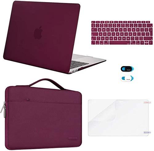 MOSISO Coque Compatible avec MacBook Air 13 Pouces 2020-2018 A2337 M1 A2179 A1932 avec Retina, Coque Rigide&Sac de Transport&Protection Clavier&Protecteur Écran&Couverture de Webcam, Marsala Rouge