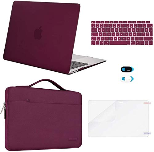 MOSISO Compatibile con MacBook Air 13 Pollici Retina Case 2018-2020 A2337 M1 A2179 A1932, Plastica Hard Shell&Sleeve Borsa&Tastiera Cover&Webcam Coperchio&Schermo Proteggi, Marsala Rosso