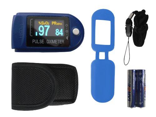 Fingerpulsoximeter Pulsoximeter OLED Display Blau TIGA-50D / CMS-50 D Herzfrequenzmesser SPO2 Sauerstoffsättigung Messung mit incl. Batterien/Tasche/Schutzhülle Silikon/Trageband dt. Anleitung 1 Stück