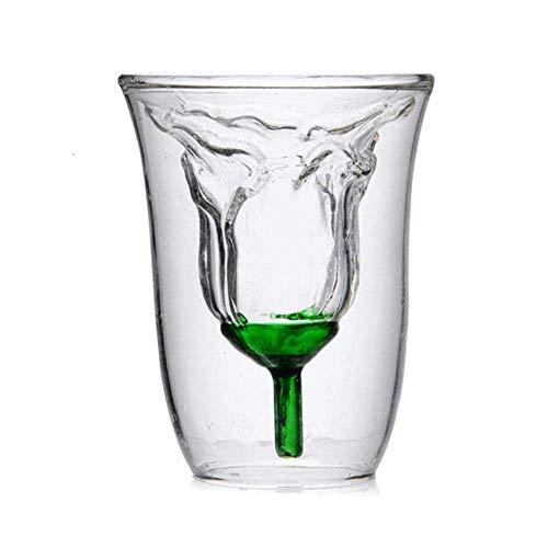K.W Diseño cóctel de Doble Capa Rosa en Forma Transparente de Doble Capa Taza Copa de Vino, Transparente Lili (Color : Transparent)