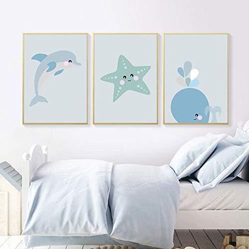 HYLLL Cartoon Meerestier Leinwand Poster Kinderzimmer Wandkunst Druck Gemälde Nordic Kids Dekoratives Bild Baby Kinderzimmer Dekoration 30x40cm-3pcs Kein Rahmen