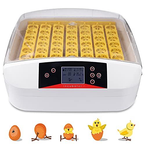 Oppikle Inkubator Vollautomatische Brutmaschine,56 Eier Intelligentes digitales Brutmaschine Brutkasten mit LED Temperaturanzeige und Feuchtigkeitsregulierung