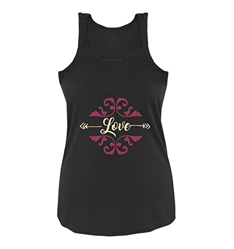 Comedy Shirts - Love Ornament - Damen Tank Top - Schwarz/Beige-Fuchsia Gr. M