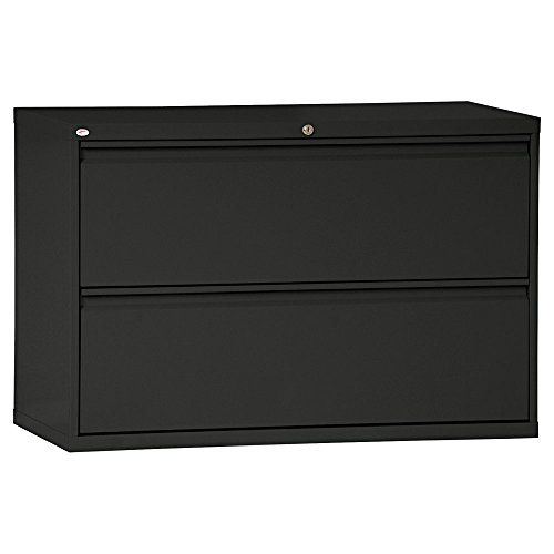 Alera LF4229BL Two-Drawer Lateral File Cabinet, 42w X 19-1/4d X 28-3/8h, Black