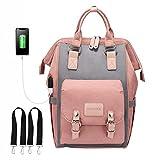 Babytasche Wickeltasche, LOVEVOOK Wickelrucksack Rosa Groß mit USB Ladeanschluss, Wasserdicht Babyrucksack Mamatasche Baby Bag für Mama mit Zwischenschichtbrett, Wickelrucksäcke Kinderwagen