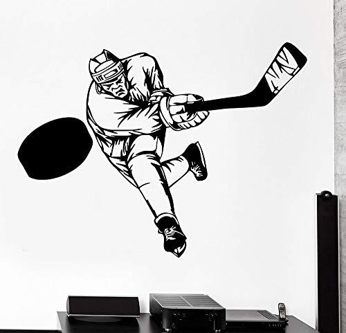 Tianpengyuanshuai Wandaufkleber Sport Hockey Schläger Schlagen Wintersportler Vinyl Aufkleber Familie Dekoration Junge Aufkleber Schlafzimmer 100x75cm