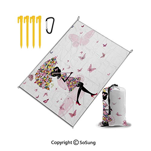 """Beach Blanket Sand Proof and Waterproof Pocket Sized Picnic Mat 67"""" x 57"""" Best Outdoor Beach Mat for Camping,Travel,Hiking,Festival and Sports,Girls,Girl with Floral Umbrella and Dress Walking with Bu"""