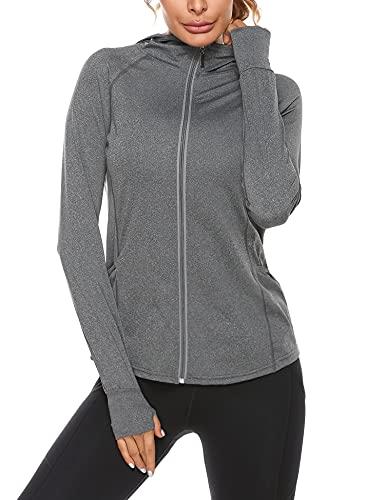 Sykooria Felpa Donna con Cappuccio e Zip Hoodie ad Asciugatura Rapida Giacca Sportiva a Manica Lunga Sottile per Yoga Fitness Jogging