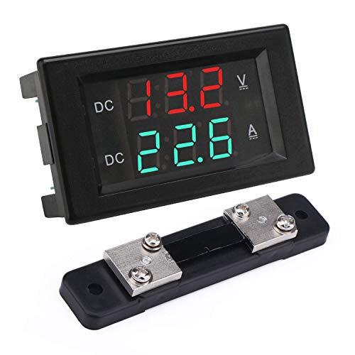 Voltage Current Display, DROK DC 4.5-100V Digital Voltmeter Ammeter Multimeter Panel, 0-50A Volt Tester Meter Amp Detector, LED Voltage Amperage Monitor Gauge for Automotive Motor Battery