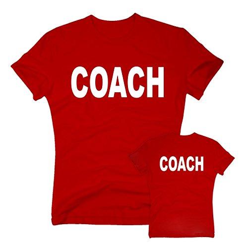 T-Shirt Coach Trainer Betreuer Aufpasser Übungsleiter Sport, S, rot-Weiss