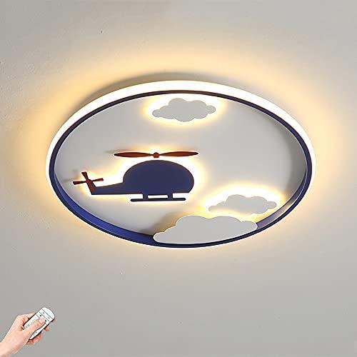 LTZZT Lámpara de Techo para niños luz de Techo Dormitorio de niños LED Regulable con Control Remoto avión Azul habitación de niños iluminación decoración diseño luz Nocturna,D42CM~38W