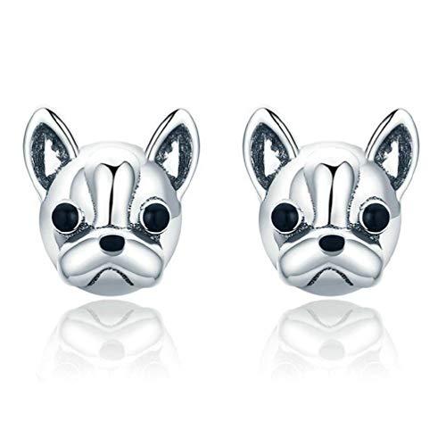 1 par de pendientes de metal con diseño de bulldog francés para mujer, joyería de moda, regalo para amantes, amigas, familiares y mujeres.