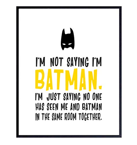 Batman Poster - 8x10 Batman Decorations - Gift for Justice League, Avengers, DC, Marvel Comic Book Fans - Superhero Wall Art Decor, Funny Room Decoration for Kids, Toddlers, Boys Bedroom, Nursery