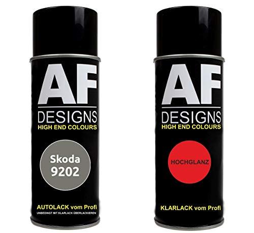 Alex Flittner Designs Autolack Spraydose Set für Skoda 9202 Cappuccino Beige Metallic Basislack Klarlack Sprühdose 400ml