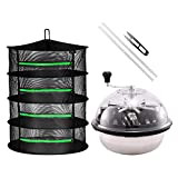 iPower 16' Bud Leaf Bowl Trimmer Machine Twisted Sharp Stainless Steel Spin Cut with Upgraded Gears, and Foldable Hanging Herb Mesh Rack with Zippers, 16' 4L, Hydroponic Plant, 2ft 4-Layer