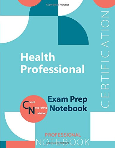 """Health Professional Certification Exam Preparation Notebook, examination study writing notebook, Office writing notebook, 154 pages, 8.5"""" x 11"""", Glossy cover"""