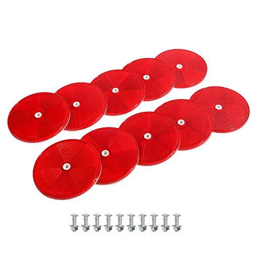 TAEUTO 10 x Rund Rot Rückstrahler, Anhänger Rund Rückstrahler Katzenauge Reflektor, Schraube Befestigung Katzenauge Reflektoren Rot, Für LKW Wohnwagen Traktor Reflektoren Anhänger(Rot)