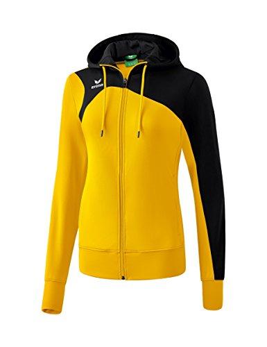 ERIMA Erima Damen Club 1900 2.0 Trainingsjacke, mit Kapuze, gelb/schwarz, 46