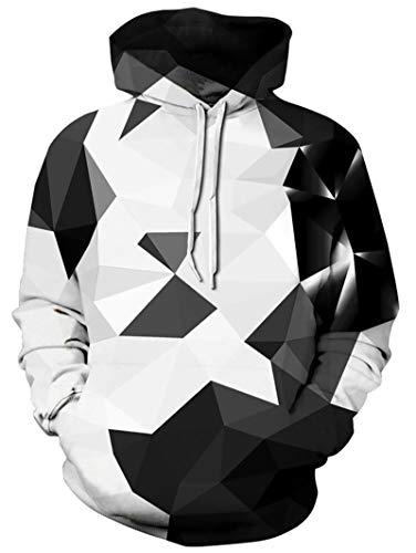 Freshhoodies Herren Kapuzenpullover 3D Geometrie Druck Hoodie Langarm Slim Fit Schwarz Drawstring Sweatshirt Pullover Tops Jumper M
