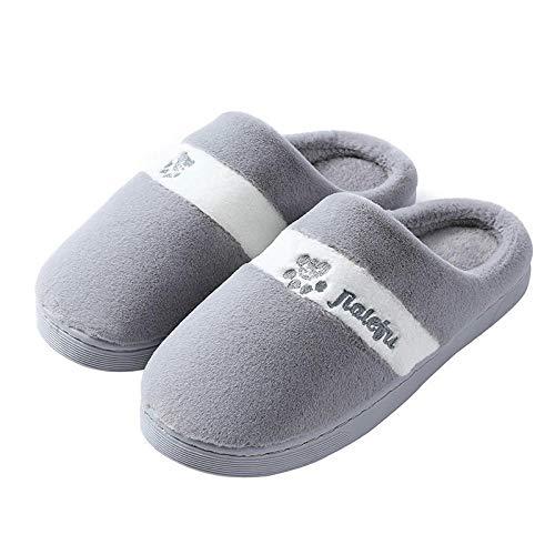 ypyrhh Zapatos de piel sintética para interiores, par de zapatillas de algodón de suela gruesa, zapatillas de terciopelo con tacón A gris_40-41, cómodos zapatos de casa de forro polar coral con anti