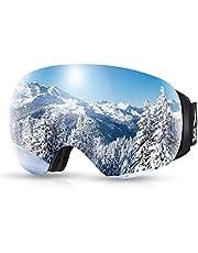 SKL Skidglasögon, OTG snowboardglasögon, snöglasögon med magnetisk utbytbar sfärisk lins, anti-imma och UV400-skydd och hjälmkompatibla skyddsglasögon för män/kvinnor/ungdomar skidåkning
