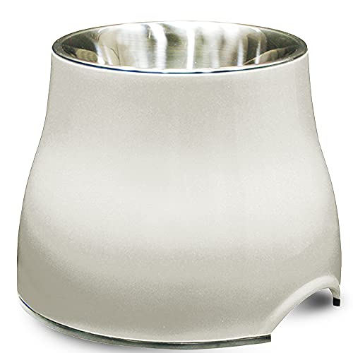 Dogit Elevated Dog Bowl, Stainless Steel Dog Food and Water Bowl for Large Dogs, White, 73753