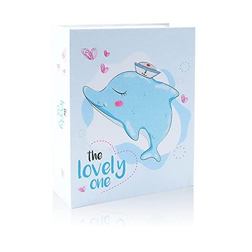Álbum de fotos de 100 fotos de 10 x 15 cm, autoadhesivo, 50 páginas, 2 por página, álbum de fotos impreso, pequeño álbum de recortes para bebé, foto de boda (delfin)