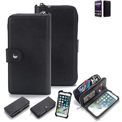 K-S-Trade 2in1 Handyhülle Für ZTE Blade V8 64 GB Schutzhülle und Portemonnee Schutzhülle Tasche Handytasche Hülle Etui Geldbörse Wallet Bookstyle Hülle Schwarz (1x)