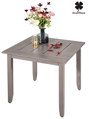 """Love & Peace 24"""" Outdoor Patio Side Table Aluminum Square Coffee Tea Bistro Table Small Side End Outdoor Furniture Table, Slat Top, Tan"""